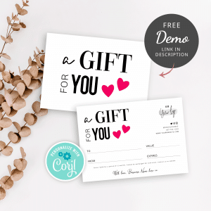 typography gift voucher template