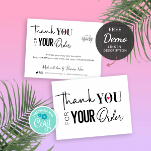 typography thank you card template