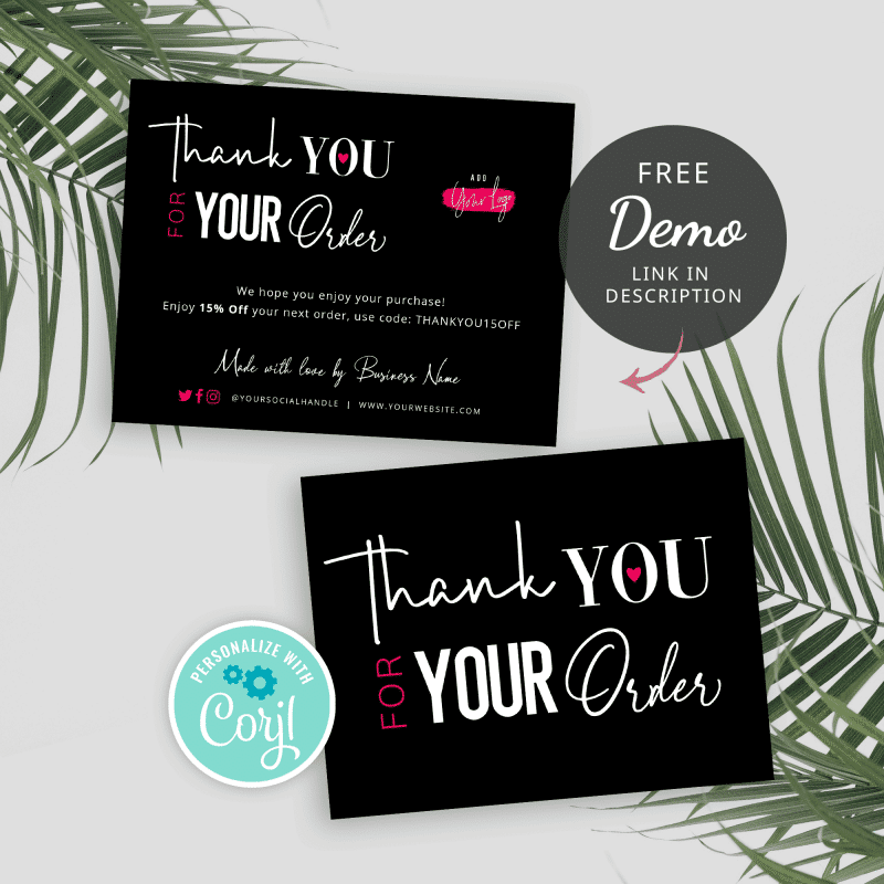 black and neon pink thank you for your order insert