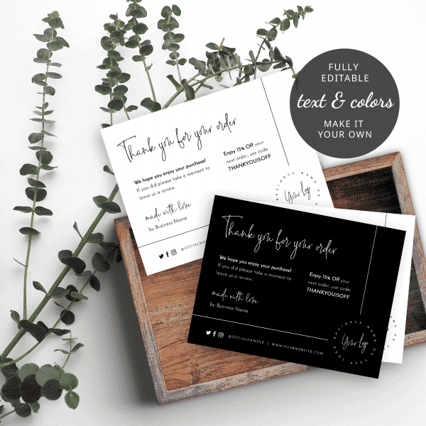 thank you for your order card templates