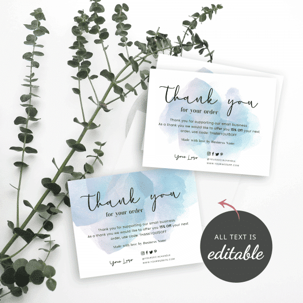 blue watercolor thank you card templates