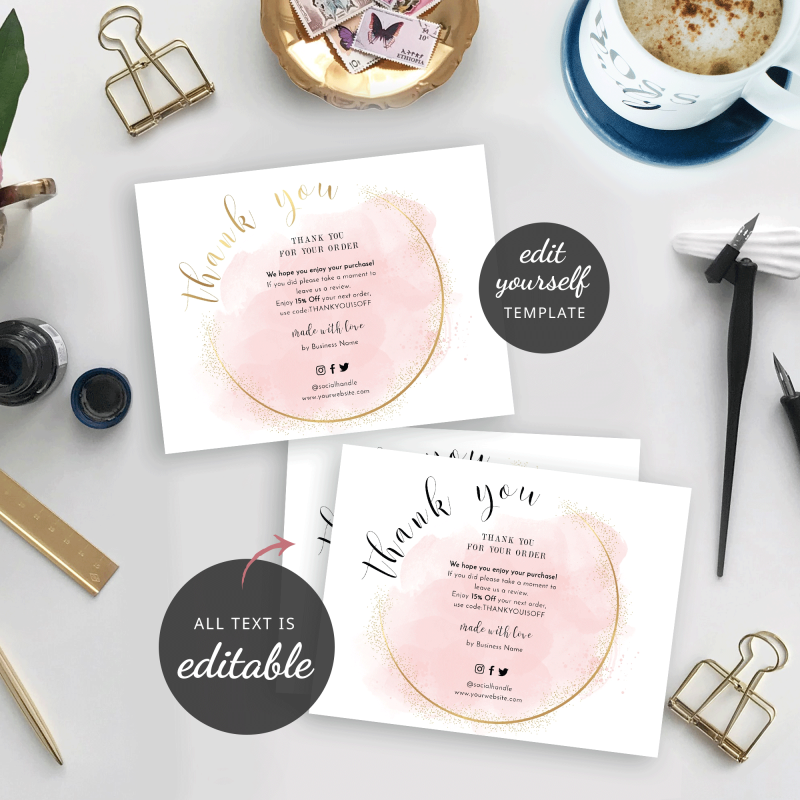 watercolor pink and gold thank you order note templates