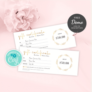 gift certificate template with faux gold effects