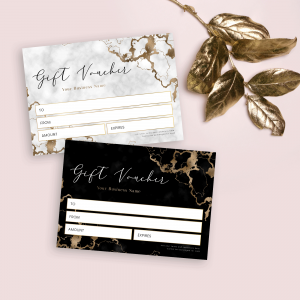 gold and marble gift voucher templates
