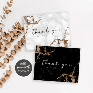 marble and gold thank you for your order note template