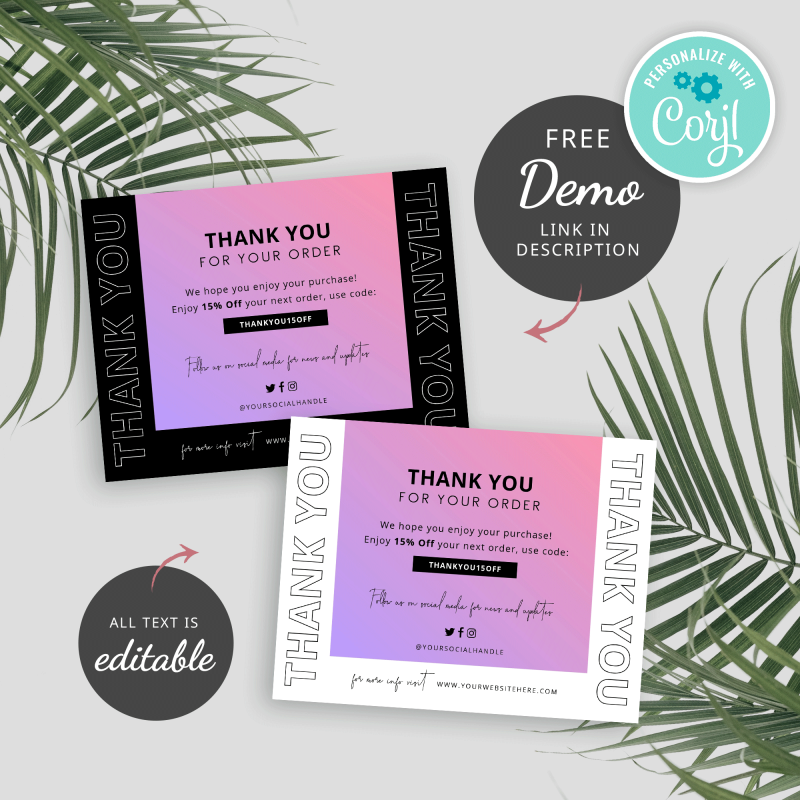 pink gradient thank you card template