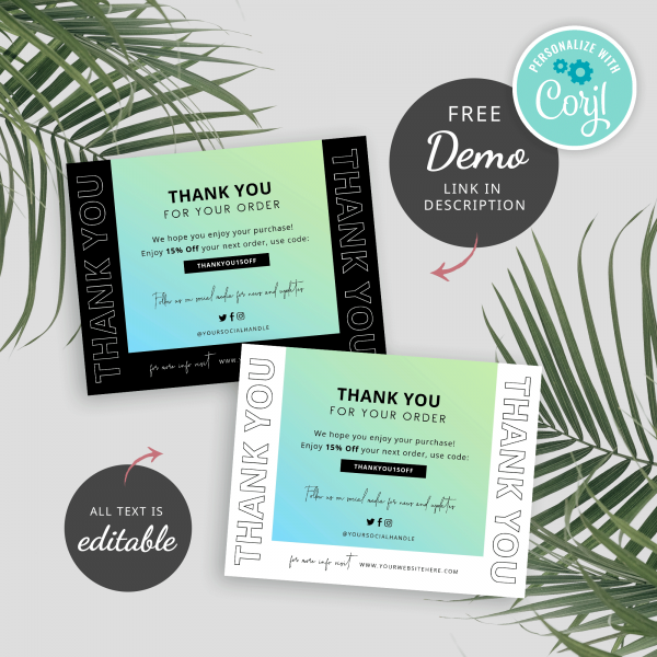 teal gradient thank you card templates