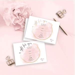 pink watercolor customizable gift certificate template with faux gold effects