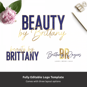 blue glitter and gold beauty logo template