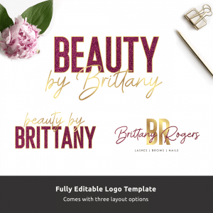 customisable logo template with pink glitter and faux gold effects