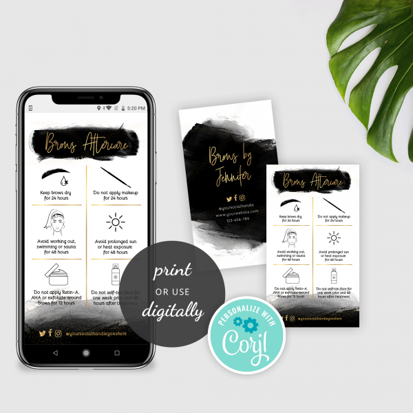 black and gold brows aftercare card templates