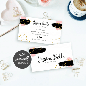 makeup artist business card with brush and glitter effects
