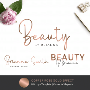 printable logo template with faux copper rose gold effects