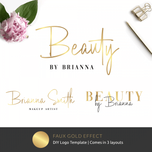 editable logo template with faux gold text effects