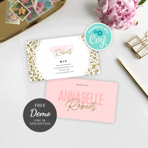 gold glitter and pink printable business card templates