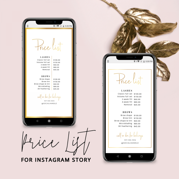 instagram price list template with gold effect