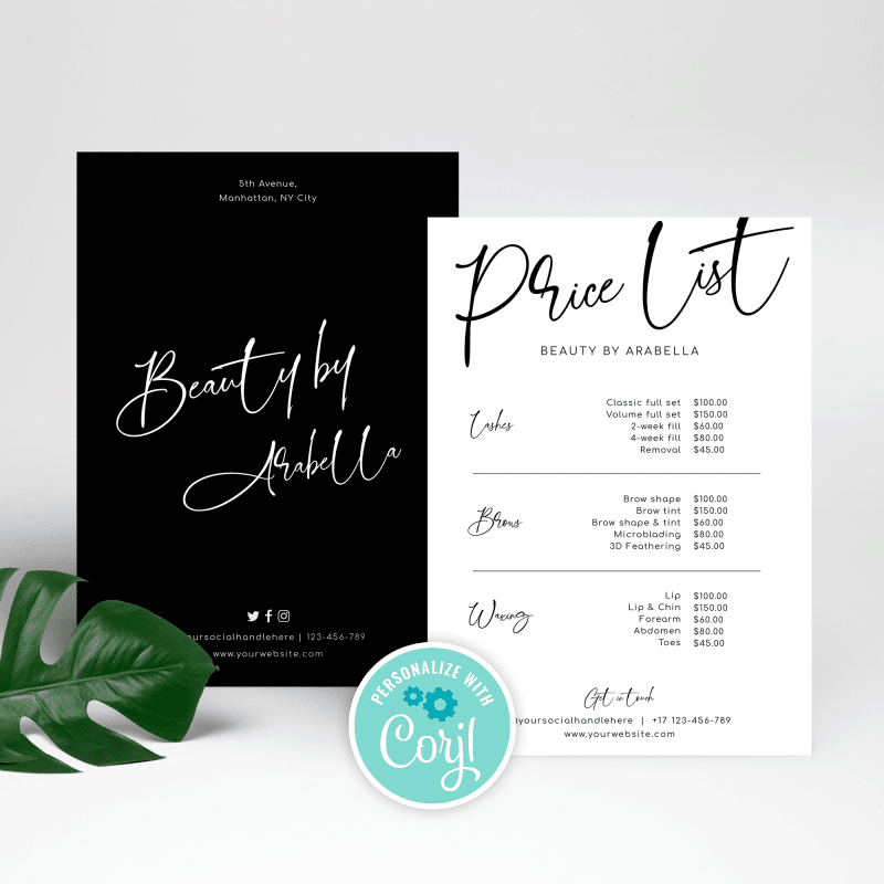 black and white minimalist price list template