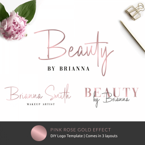 logo design template with faux pink rose gold text effects