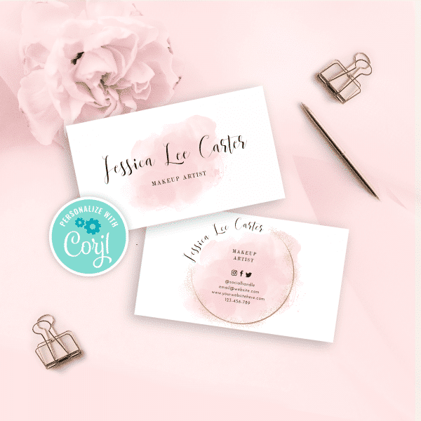 pink watercolor business card template with faux gold effect