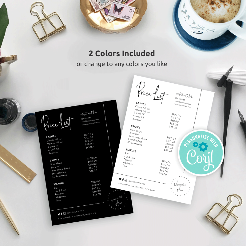 black and white simple price list template