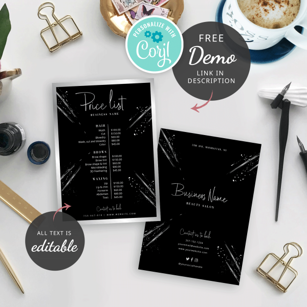 printable price list template with black background and faux silver effect