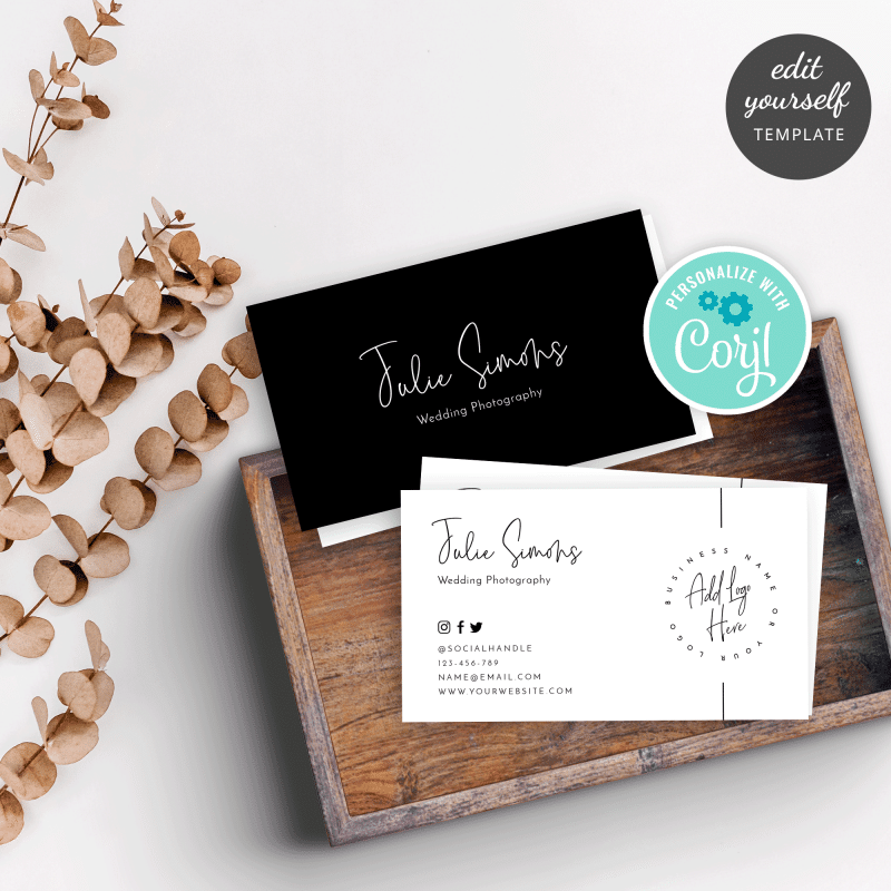 black and white simple business card template