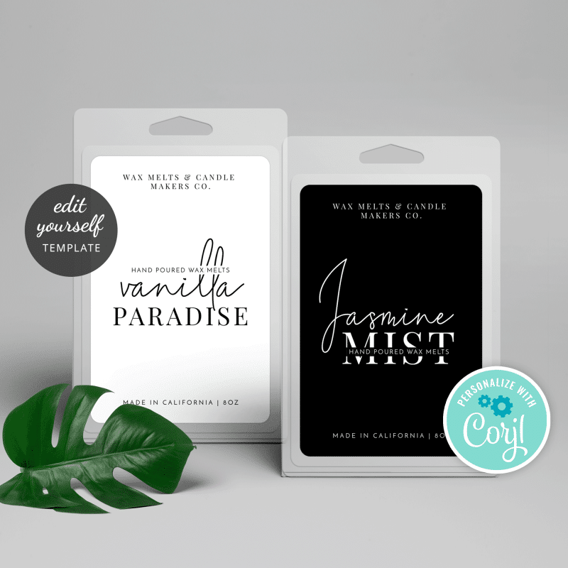 black and white wax melts label template