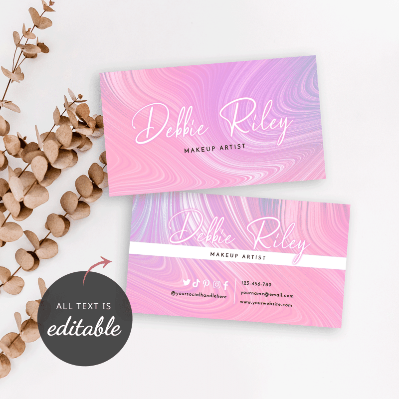editable business card template with agate pink marble design