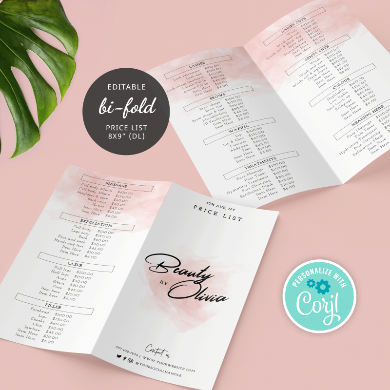 pink watercolor bi-fold price list template