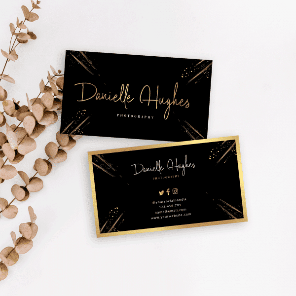 black and gold dust printable business card template