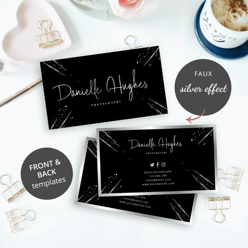 black business card design templates with faux silver text effects