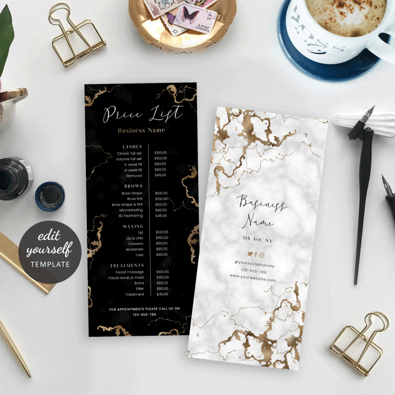 white and black marble price list template with gold effect