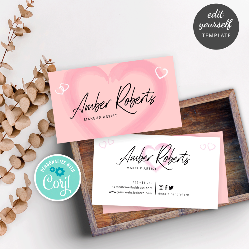 feminine business card template with a pink heart