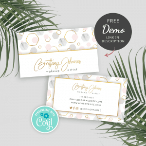 customizable business card template with marble hexagons design and faux gold effects