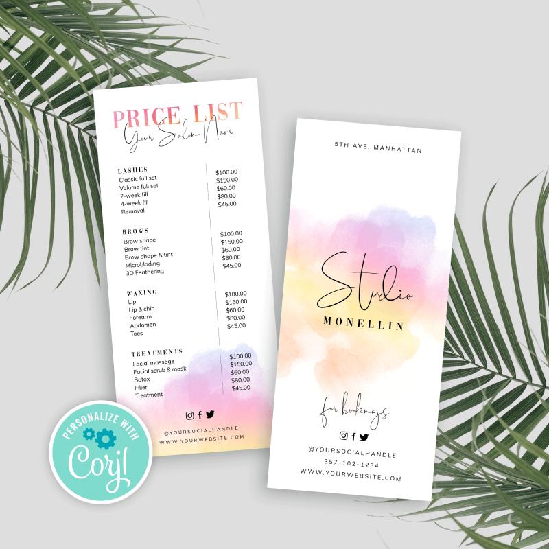 multicolor price list template