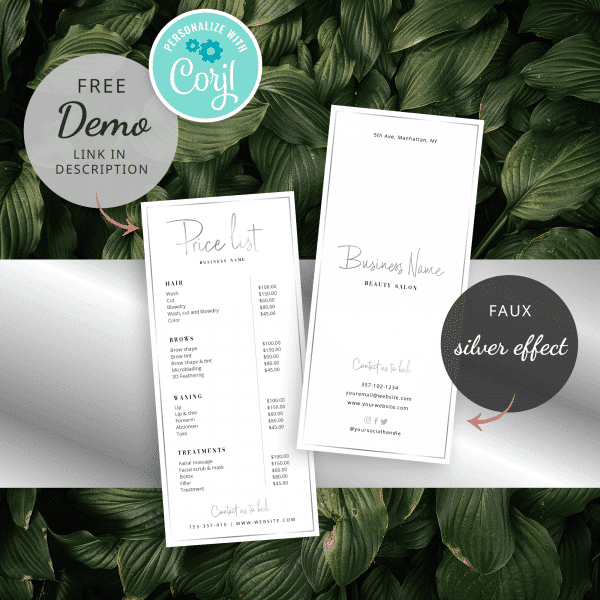 faux silver price list template