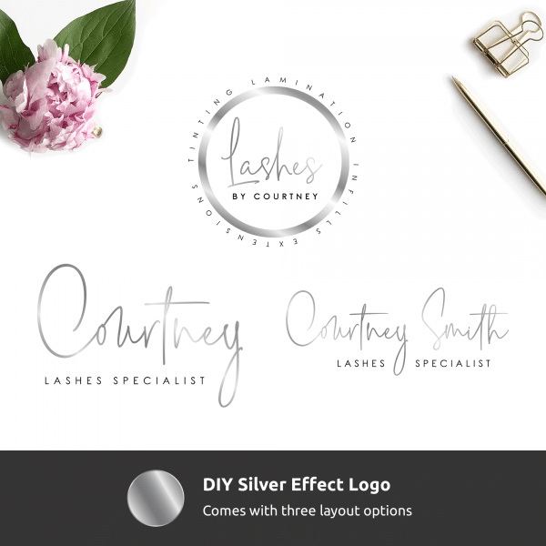beauty salon instant logo with faux silver text effects