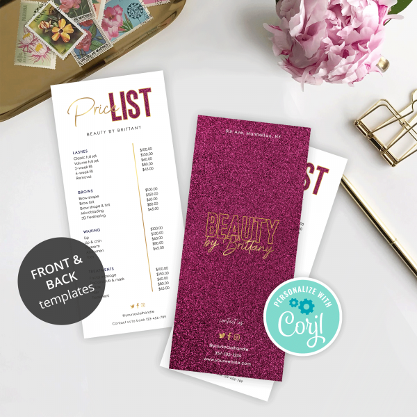 price menu template with faux pink glitter and gold effects