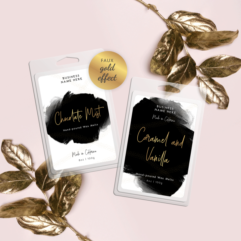 black watercolor wax melt label templates with faux gold effects