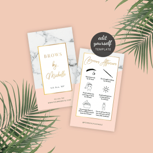 eyebrows tint care instructions template with marble background and faux gold text effect