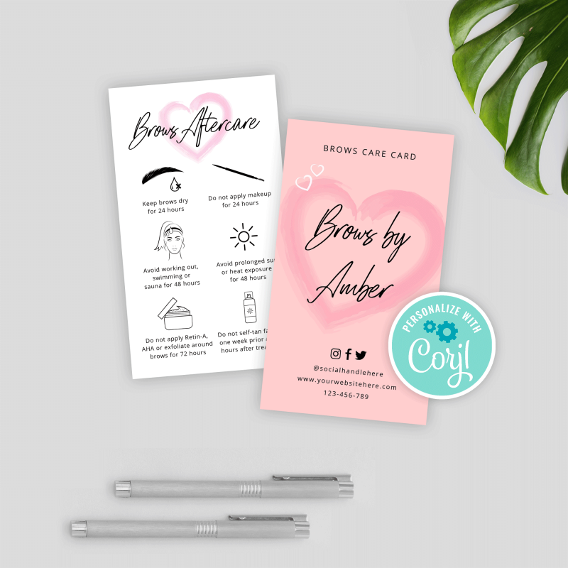 eyebrow care card template with pink watercolor heart effects