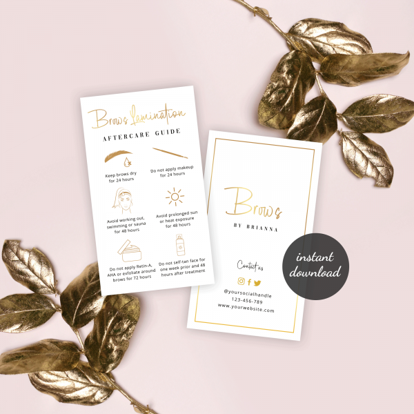 brows care card template with faux gold text effects