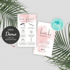 printable eyebrows care instructions template with pink watercolor background