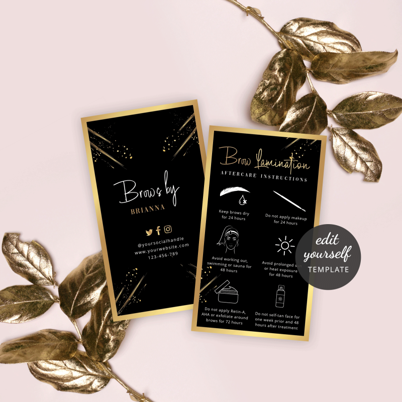brow lamination aftercare instructions template with a black background and faux gold effects