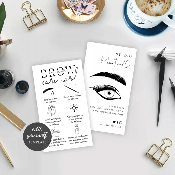 minimalist brows aftercare template