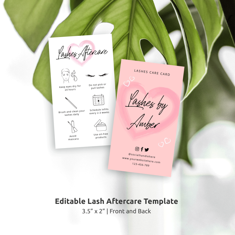 lashes aftercare card template with pink watercolor heart