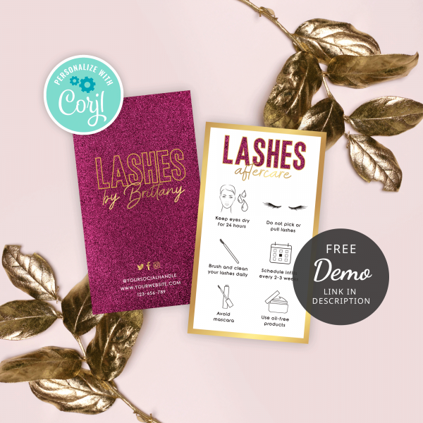editable lashes care card templates with pink glitter and gold effects