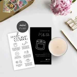 editable candle care guide template with minimalist design