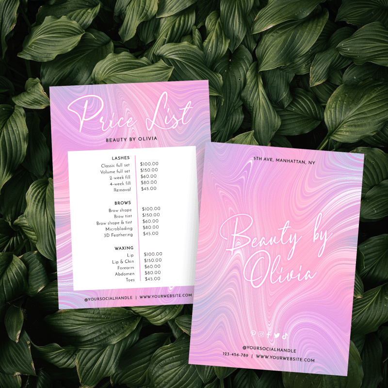 beauty pricelist template with pink agate color effects