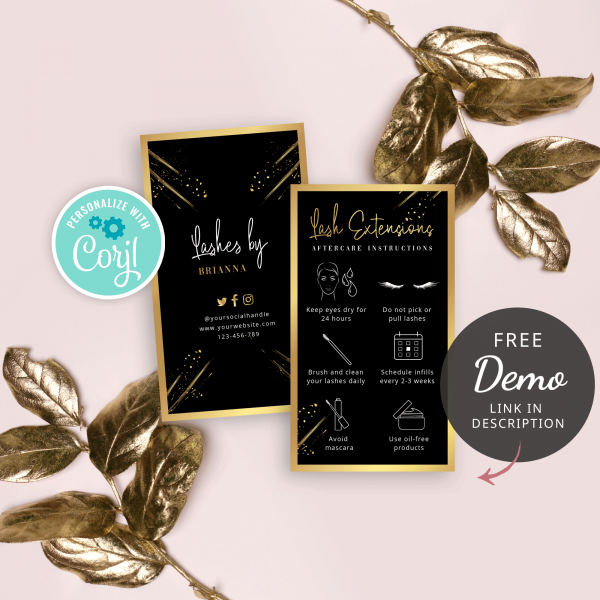 black and gold lash care card template
